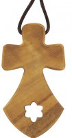 Croce carmelitana in legno ulivo con cordoncino - 3,5 cm