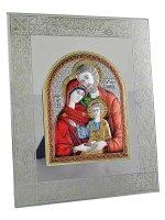 Sacra famiglia bizantina in vetro e argento colorato (13x16)