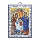 """Icona con cornice azzurra """"Nozze di Canaan"""" - 14 x 10 cm"""
