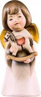 Statuina dell'angioletto con cavallo giocattolo, linea da 11 cm, in legno dipinto a mano, collezione Angeli Sognatori - Demetz Deur