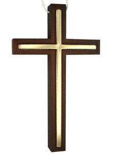 Copertina di 'Croce per Prima Comunione in legno scuro ed inserti dorati con laccio - dimensioni 10x6 cm'