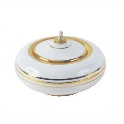 Copertina di 'Lucerna in ceramica bianca e dorata a palla - diametro 12 cm'