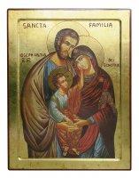 Icona Sacra Famiglia, produzione greca su legno - 36 x 47,5 cm