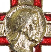 Immagine di 'Croce in metallo dorato con volto di Cristo - 2 cm'