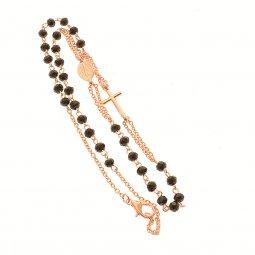 Copertina di 'Collana rosario con grani sfaccettati neri e finitura oro rosa'