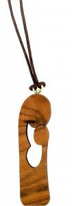 Copertina di 'Ciondolo Madonna traforata in legno d'ulivo con cordone'