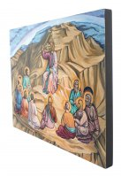 """Immagine di 'Icona """"discorso della montagna"""" dipinta a mano su legnocm 26x32'"""