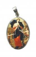 Medaglia Maria che scioglie i nodi ovale in argento 925 e porcellana