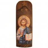 Icona in legno con Cristo Pantocratore in rilievo (h. 40 cm)