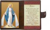 """Icona da viaggio in legno """"Madonna Miracolosa"""" con preghiera e custodia - cm 10x7"""