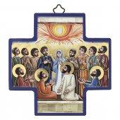 """Croce in legno con lamina oro """"Pentecoste"""" - altezza 12 cm"""