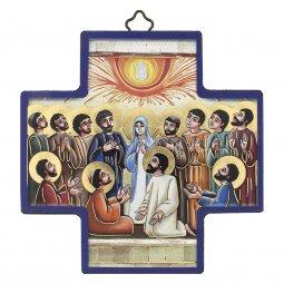 """Copertina di 'Croce in legno con lamina oro """"Pentecoste"""" - dimensioni 12x12 cm'"""