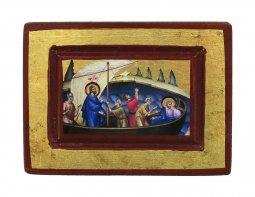 Copertina di 'Icona Gesù e Discepoli - tempesta sedata, produzione greca su legno (8 x 6 cm)'