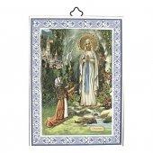 """Icona con cornice azzurra """"Madonna di Lourdes"""" - dimensioni 14x10 cm"""