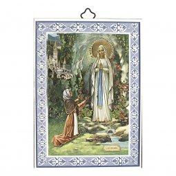 """Copertina di 'Icona con cornice azzurra """"Madonna di Lourdes"""" - dimensioni 14x10 cm'"""