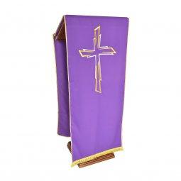 Copertina di 'Coprileggio viola con ricamo a croce oro e argento'