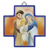 """Croce in legno con lamina oro """"Sacra Famiglia"""" - dimensioni 12x12 cm"""