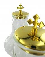 Immagine di 'Ampolline in vetro su vassoio in ottone - 200 cc'