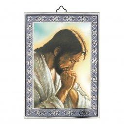 """Copertina di 'Icona con cornice azzurra """"Cristo orante"""" - 14 x 10 cm'"""