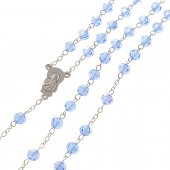Immagine di 'Rosario in cristallo zaffiro con croce in metallo color argento - grani sfaccettati 5 mm'