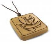 Immagine di 'Ciondolo Anno della Fede quadrato in legno d'ulivo con cordone - 3 cm'
