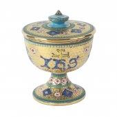 """Pisside in ceramica simbolo IHS """"Modello Bizantino"""" - 14 cm"""