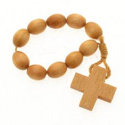 Copertina di 'Rosario decina francescana in legno chiaro'