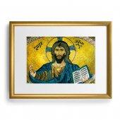 """Quadro """"Cristo Pantocratore - Duomo di Cefalù"""" con cornice dorata - dimensioni 44x34 cm"""