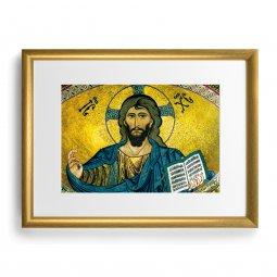 """Copertina di 'Quadro """"Cristo Pantocratore - Duomo di Cefalù"""" con cornice dorata - dimensioni 44x34 cm'"""