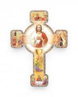 """Croce effetto legno a rilievo """"Ricordo della Prima Comunione"""" con cartoncino"""