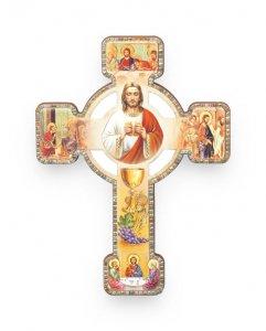 """Copertina di 'Croce effetto legno """"Ricordo della Prima Comunione"""" con cartoncino -dimensioni 9,5x13 cm'"""