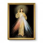 """Quadro """"Gesù Misericordioso"""" con lamina oro e cornice dorata - dimensioni 44x34 cm"""