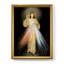 """Copertina di 'Quadro """"Gesù Misericordioso"""" con lamina oro e cornice dorata - dimensioni 44x34 cm'"""