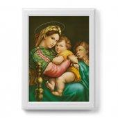 """Quadro """"Madonna della seggiola"""" con cornice decorata a sbalzo - dimensioni 78x58 cm - Raffaello Sanzio"""