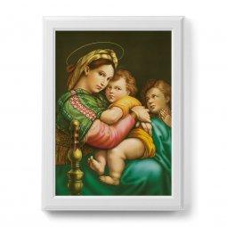 """Copertina di 'Quadro """"Madonna della seggiola"""" con cornice decorata a sbalzo - dimensioni 50x70 cm'"""