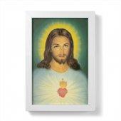 """Quadretto """"Sacro cuore di Gesù"""" con cornice minimal - dimensioni 15x10 cm"""