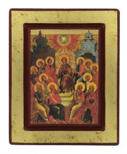 """Copertina di 'Icona in legno """"Discesa dello Spirito Santo"""" - dimensioni 18x14,5 cm'"""