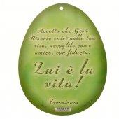Immagine di 'Uovo verde in PVC da appendere con augurio pasquale - altezza 10 cm'