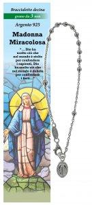 Copertina di 'Bracciale rosario Madonna Miracolosa con 11 grani in argento da 3 mm'