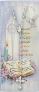 Copertina di 'Cartoncino ricordo della Cresima con salmo e rosario'