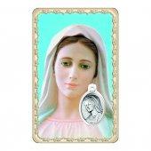 """Card """"Madonna di Medjugorje"""" con preghiera e medaglia - (10 pezzi)"""