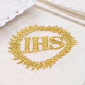 Servizio da messa 4 pezzi con cristogramma IHS ricamato in oro
