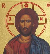 Immagine di 'Icona Cristo Pantocratore libro aperto stampa su legno scavato - 24 x 19 cm'