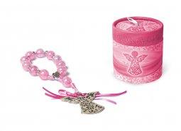 Copertina di 'Decina rosa con pendaglio a forma di angelo e cofanetto - grani tondi 15 mm'