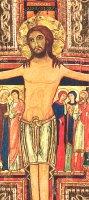 Immagine di 'Crocifisso San Damiano da parete stampa su legno bordo oro - 10 x 8 cm'