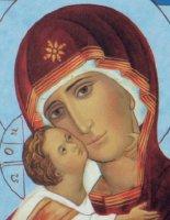 Immagine di 'Quadro icona Madonna di Vladimir stampa su legno - 7 x 5,5 cm'