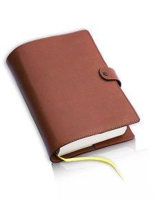 Copertina di 'Custodia in pelle con chiusura a bottone per Sacra Bibbia CEI - Uelci - colore marrone'