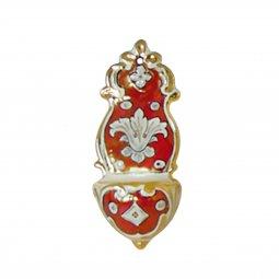 Copertina di 'Acquasantiera in ceramica  cm 13 - Modello Rubino e oro'