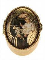 """Portarosario ovale in metallo """"Sant'Antonio di Padova"""" - dimensioni 6x4 cm"""