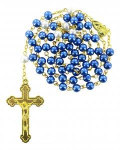 Copertina di 'Rosario imitazione perla legatura dorata mm 6'
